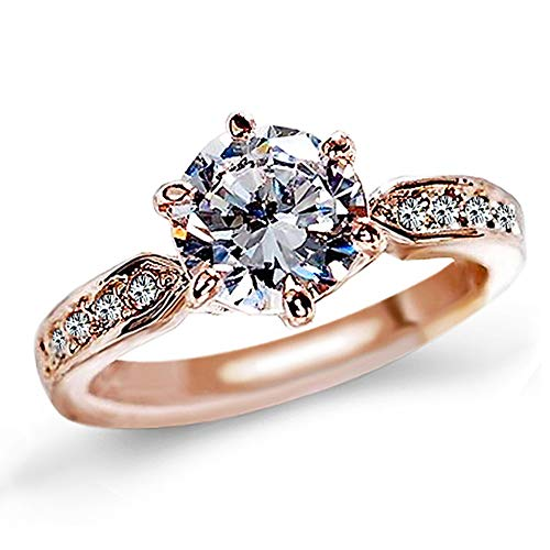 QJLE Wedding Rings for Women,18K Rose Gold Plated 1.5ct CZ Diamond Cut Cubic Zirconia Engagement Ring,Solitaire Promise Anniversary Band (Rose Gold, 4)