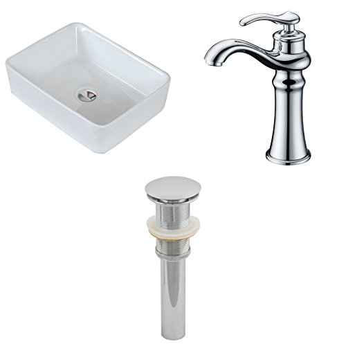 19-in. W X 14-in. D Rectangle Vessel Set In White Color With Deck Mount CUPC Faucet And Drain by American Imaginations