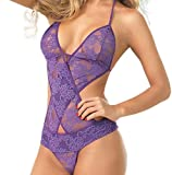 Underwear Women Sexy Teddy Lace Halter Sling Lingerie V-Neck Nightwear JHKUNO Purple