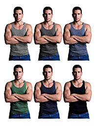 Andrew Scott Men's 6 Pack Cotton A-Shirt Tanks