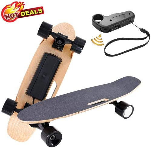 Aceshin Electric Skateboard with Wireless Remote Control for Adults Teens Youths 250W Motor 12 MPH Top Speed Electric Longboard 7 Layers Maple Waterproof E-Skateboard