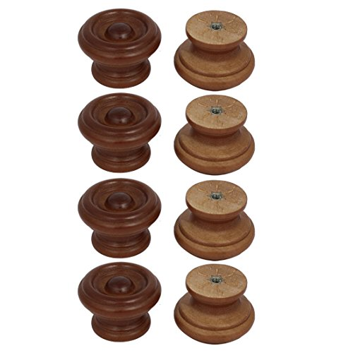(uxcell Cabinet Drawer 37mmx25mm Single Hole Wooden Pull Knobs Handles Red Brown 8pcs)