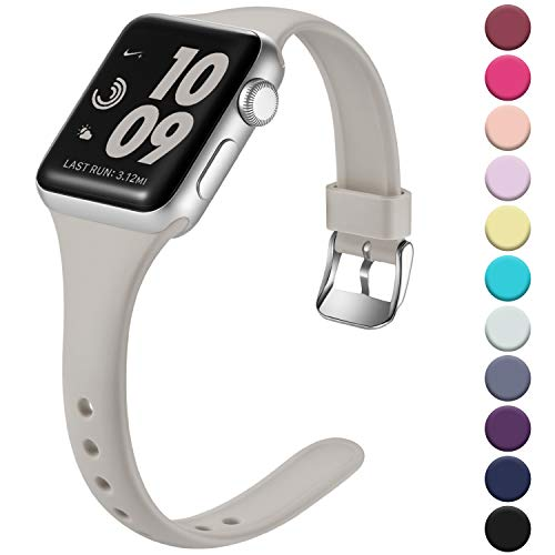 Laffav Slim Band Compatible with Apple Watch 40mm 38mm 44mm 42mm for Women Men, Soft Silicone Narrow Thin Sport Replacement Strap for iWatch Series 5 4 3 2 1 (Pebble Gray, 38mm/40mm S/M) (Silicon Watch Pebble Band)