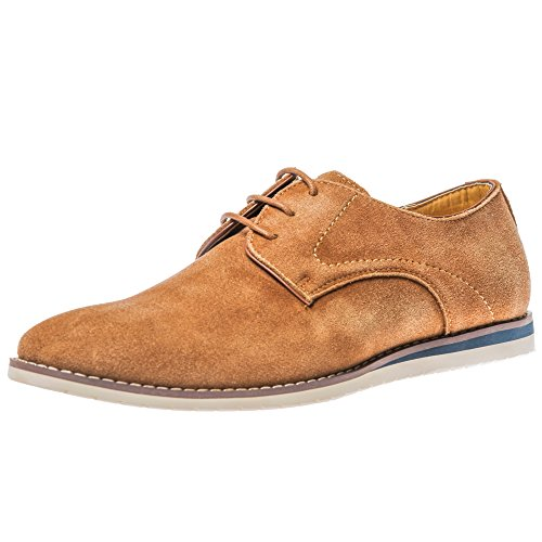 Yolkomo Men's Cow Suede Leather Washed Oxford Fashion Sneakers Classic Casual Dress Logging Shoes