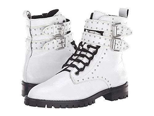 Rebecca Minkoff Women's Jaiden Stud Combat Boots, White, 10 M US