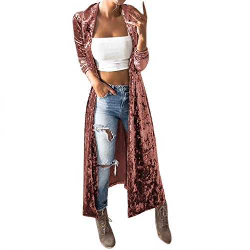 H.eternal Coats for Women, Fashion Casual Long Sleeve Tops Cardigan Sweaters Solid Outerwear Coat Pink