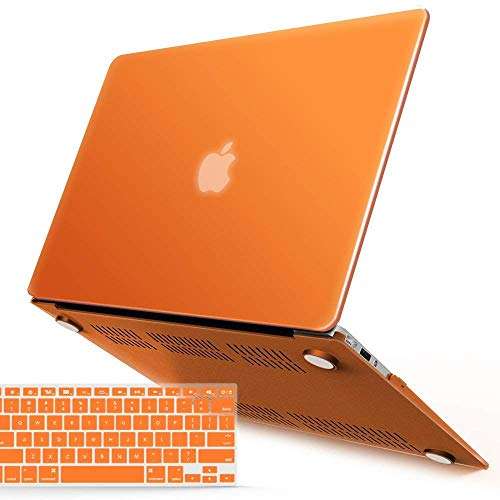iBenzer MacBook Air 13 Inch Case, Soft Touch Hard Case Shell Cover with Keyboard Cover for Apple MacBook Air 13 A1369 1466 NO Touch ID, Orange,MMA13OR+1