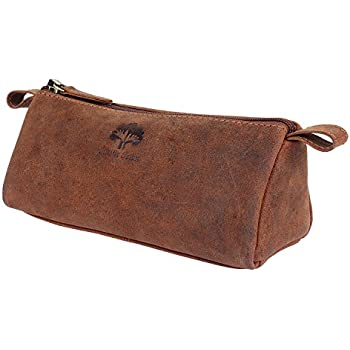Amazon.com: Vintage Leather Zippered Pen Pencil Pouch Gift For Men ...