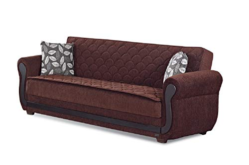 BEYAN Sunrise Collection Large Folding Sofa Sleeper Bed with Storage Space  and Includes 2 Pillows, Dark Brown