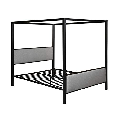 Kama Traditional Fabric Canopy Queen Bed with Iron Frame, Gray and Flat Black