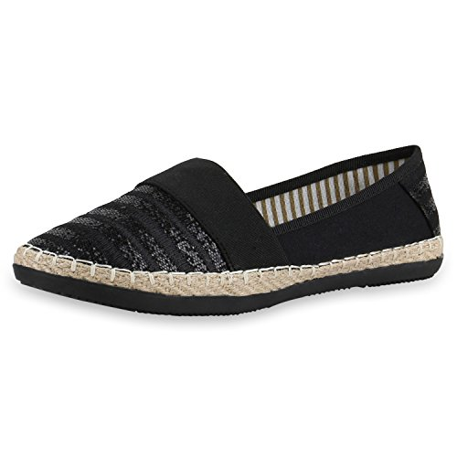 napoli-fashion Damen Espadrilles Bast Glitzer Slippers Blumen Prints Flats Strass Metallic Schuhe Stoffschuhe Nieten Freizeitschuhe Jennika Schwarz