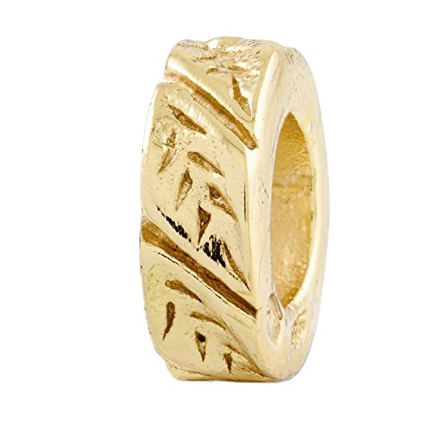 Sterling Silver Gold-plated Reflections Leaf Design Spacer Bead