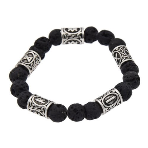 - Antique Silver 10mm Lava Rock Viking Bead Essential Oil Diffusing Bracelet Aromatherapy Black Nordic Runes Norse by Mello Products