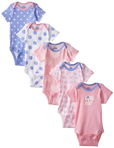 Gerber Baby Girls' 5-Pack Short-Sleeve Onesies Bodysuit, Pink Leopard, Newborn