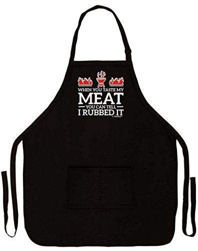 When You Taste My Meat You Can Tell I Rubbed It Funny Apron Kitchen BBQ Barbecue Cooking Grilling Tailgate Bacon Two Pocket Apron Tailgating BBQ Grill Pit Master Black -