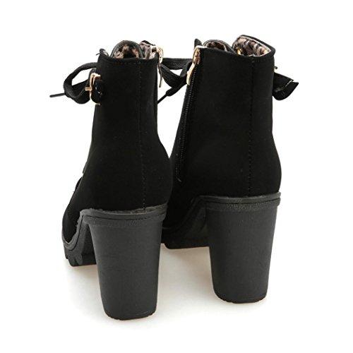 Botas Mujer,Ouneed ® Forme a mujer el alto talón ata para arriba el tobillo abotona los zapatos de la plataforma de la hebilla Negro