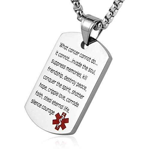 (HZMAN What Cancer Cannot Do Dog Tag Pendant Necklace - Stainless Steel Medical Alert Necklace - Recovery Gifts (Silver) )