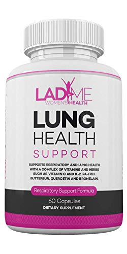 Lung Support Supplement Mucus Relief for Women Clear Lungs with Complex of Vitamin C, Vitamin K2, Quercetin & Bromelain Lung Cleanse for Smokers Healthy Respiration by LadyMe 60 Capsules