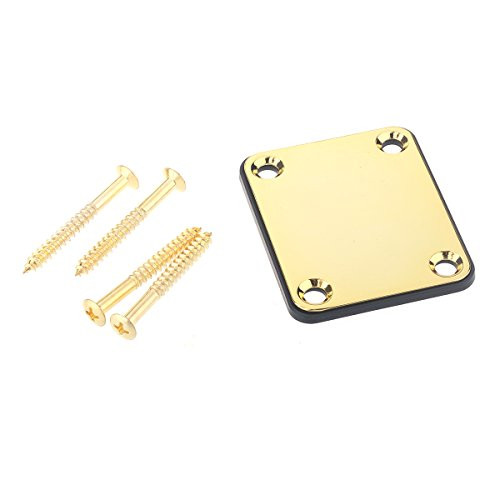 Musiclily Metal 4 Hole Guitar Neck Plate for Fender Stratcaster Telecaster Guitar or Bass,Gold ()