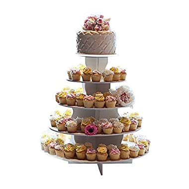 The Smart Baker 5 Tier Round Cupcake Stand PRO- Holds 90+ Cupcakes  As Seen on Shark Tank  Cupcake Tower for Professional Use
