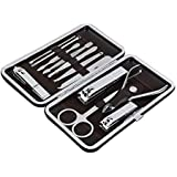 12 Pcs/set Stainless steel nail Art Manicure Set nail Care Tools with Mini Finger nail Cutter Clipper File Scissor Tweezers nail Grooming Care Tool Scissors Clippers Kit