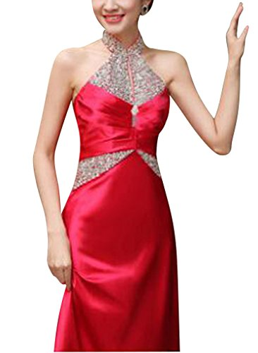 BRIDE tr Abendkleid GEORGE Hochwertige reizvollen Mehrfarben Satin Rot gerlosen dtSAqwS