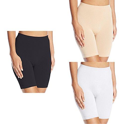 Vanity Fair Women's Comfortably Smooth Slip Short Panty 12674, Black Sable/Vass Latte/White Ice, 2X-Large/9 ()
