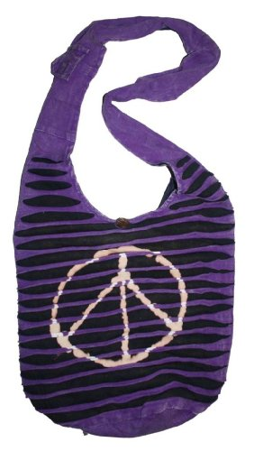 SJ 02 Patch Soft Cotton Bohemian Purse Bag (Peace, Purple) by Agan Traders