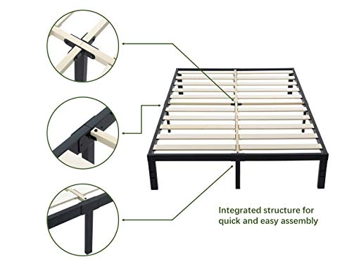 ZIYOO 3500lbs Heavy Duty, 14 Inch Wooden Slat, Reinforced Platform Bed Frame Strengthen Support Mattress Foundation, Easy Assembly, Quiet Noise Free, No Box Spring Needed, Integrated Structure, King