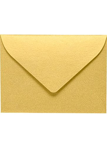 #17 Mini Gift Card Envelopes (2 11/16 x 3 11/16) - Gold Metallic (50 Qty.) | Perfect for The Holidays, Holding Place Cards, Gift Cards, Notes, and Flower Arrangement Cards |MINSDG-50 ()