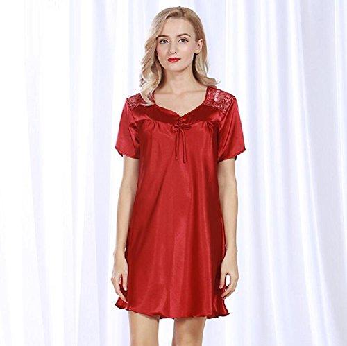 ZC&J Imitación de pijamas de seda de verano mangas cortas en el sueño de luz larga suelta cómodo baño de ocio falda de sueño,pale pinkish gray,one size Red wine