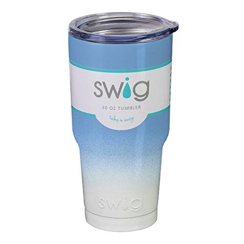 SWiG 30oz Gameday Tumbler, Light Blue/White