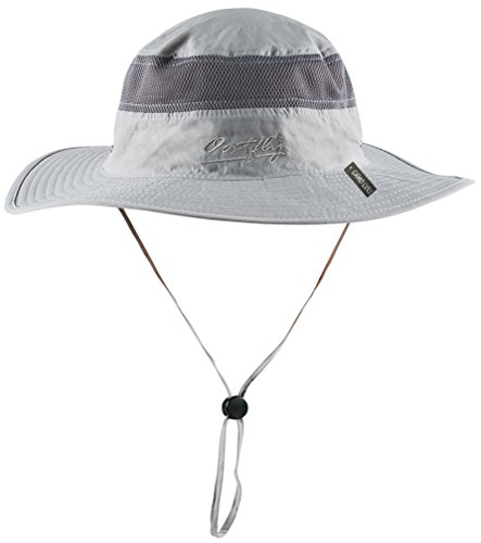 Camo Coll Outdoor UPF 50+ Boonie Hat Summer Sun Caps (One Size, Light Gray)