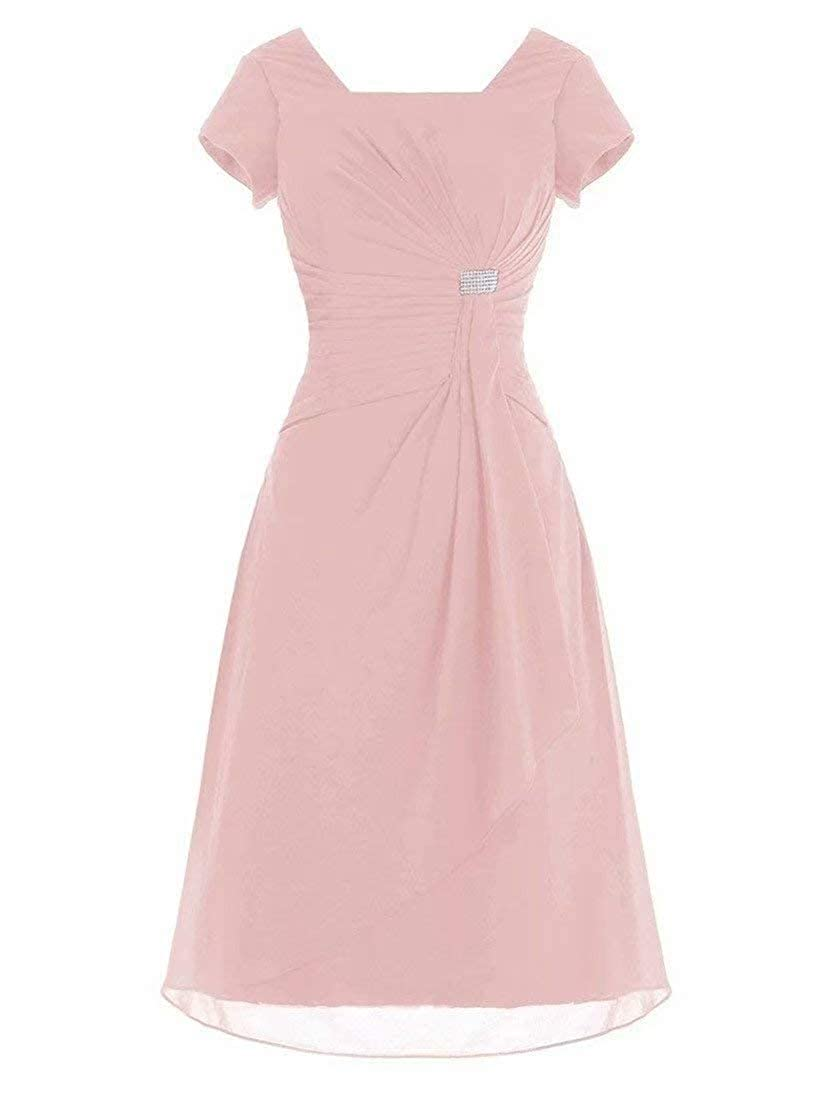 Womens Knee Length Chiffon Formal Mother of The Bride Dress with Cap Sleeves