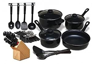 Moda Fina*32-PC Kitchen Combo Set*COOKWARE POTS and PANS*Cutlery,Flatware&Tools!
