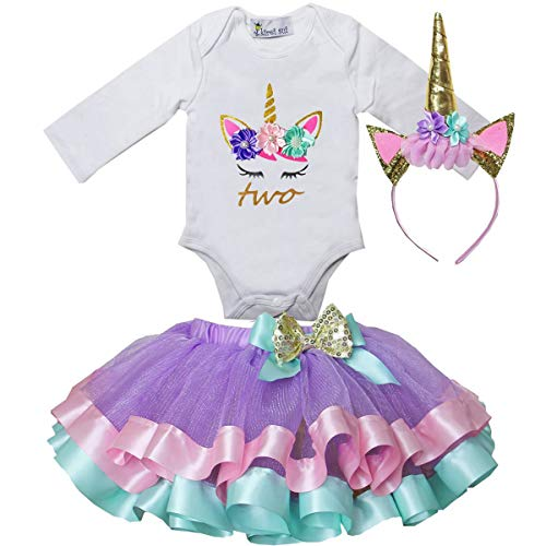 (Kirei Sui Girls Lavender Trimmed Tutu Unicorn 2nd Bodysuit)