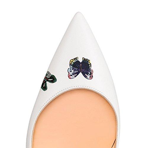 Fsj Donna Lucidi Colori Freschi Scarpe Col Tacco A Punta Abiti Eleganti Scarpe Taglia 4-15 Us Bianco Butteferfly