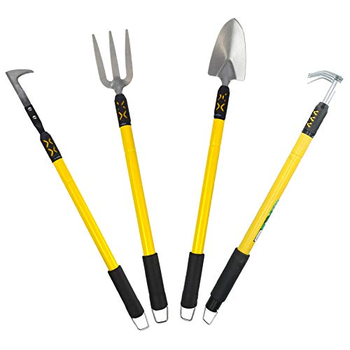 Extendable Garden - AB Tools-Green Blade Garden Tool Kit Spade Shovel Fork Rake Weeder Telescopic Extendable Handles