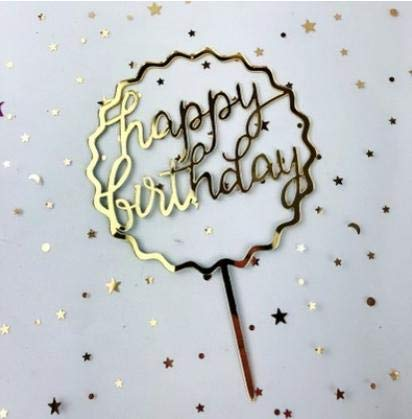 - cici store High-Grade Mirror Acrylic Cake Decoration Card-H (Golden Wave Circle) Birthday Cake Topper Decoration,Party Decoration For Baby Shower,Wedding Party