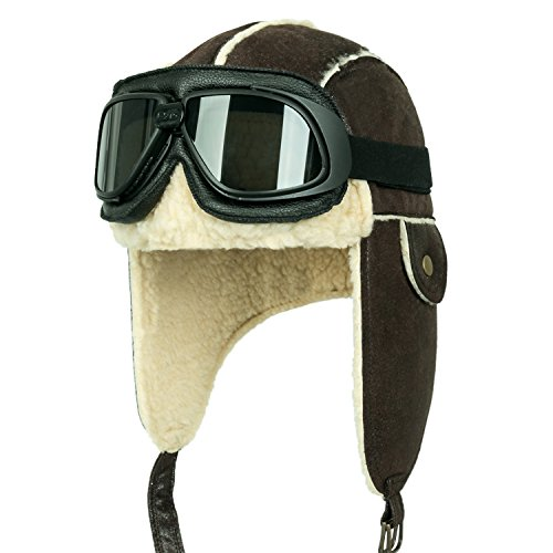 Raf Aviator Costume (ililily Aviator Hat Winter Snowboard Fur Ear Flaps Trooper Trapper Pilot Goggles , Black goggle, Black/White)
