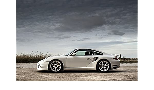 Amazon.com: Porsche 911 (997) Turbo S by McChip-DKR (2013) Car Art Poster Print on 10 mil Archival Satin Paper White Side Static View 20