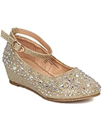 Girls Glitter Rhinestone Wedge