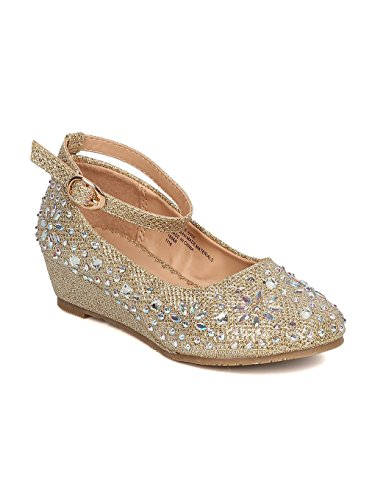 Discounted Girl Flower - Girls Glitter Leatherette Rhinestone Ankle Strap Wedge Heel GC47 - Gold (Size: Little Kid 12)