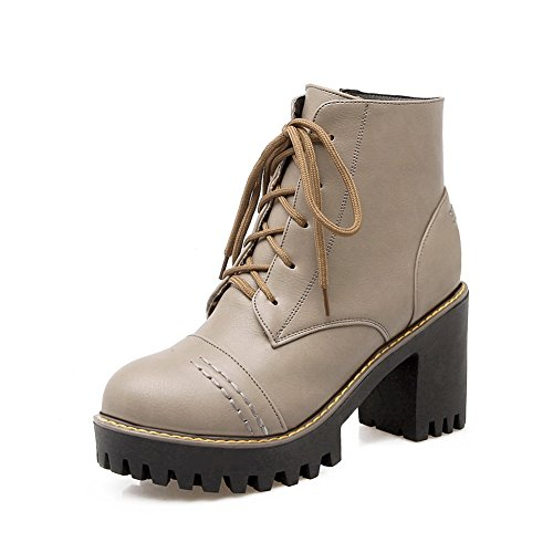 BalaMasa Girls Bandage Chunky Heels Platform Imitated Leather Boots Gray VmAvJDtpH