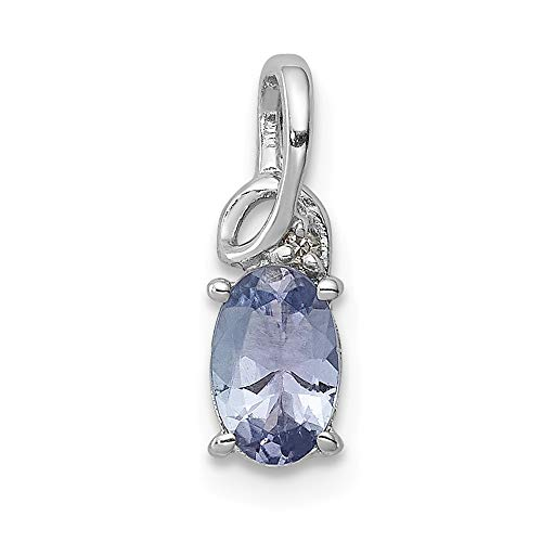 925 Sterling Silver Rhodium Plated Diamond Tanzanite Oval Pendant (12mm x 4mm)