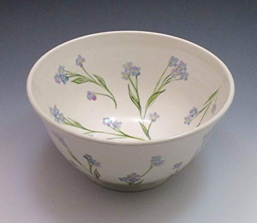 Porcelain Serving Bowl, Hand Painted in Forget Me Not Design