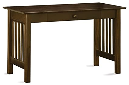 Solid Wood Mission Style Computer Desk with Drawer in Antique Walnut - Amazon.com : Solid Wood Mission Style Computer Desk With Drawer In