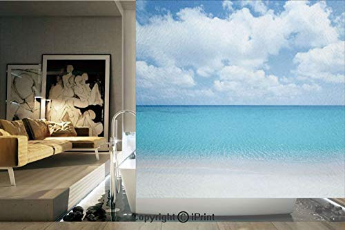 Ylljy00 Decorative Privacy Window Film/Solitude Peaceful Beach Scene with Blue Ocean and Cloudy Sky/No-Glue Self Static Cling for Home Bedroom Bathroom Kitchen Office Decor