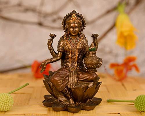 Collectible India Goddess Lakshmi Idol Hindu Laxmi Statue Home Office Decor (Size 8cm x 5cm)