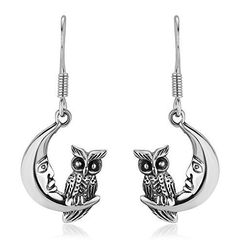 925 Oxidized Sterling Silver Midnight Wisdom Owl On A Crescent Moon Symbol Dangle Hook Earrings 1.3